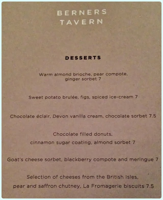 Berner's Tavern, London - Dessert Menu