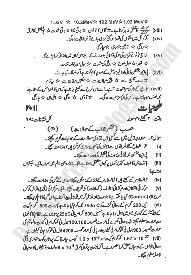 Physics-urdu-2011-five-year-paper-class-XII