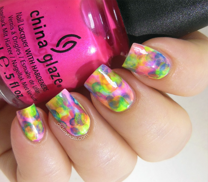 neon watercolour nails