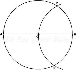 Traçar um arco que intersecte a circunferência nos pontos D e E. A, D e E dividem a circunferência em três arcos iguais