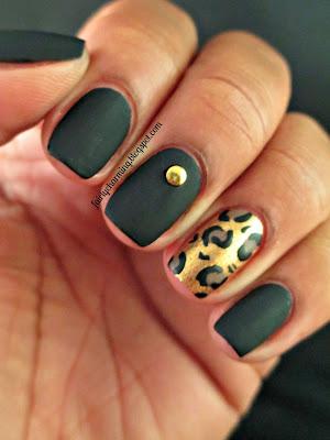 Sinful Colors Whipped, OPI Goldeneye, cheeta print, leopard print, matte, matte black, animal print, stud, gold, gold stud, black and gold, nails, nail art, nail design, mani