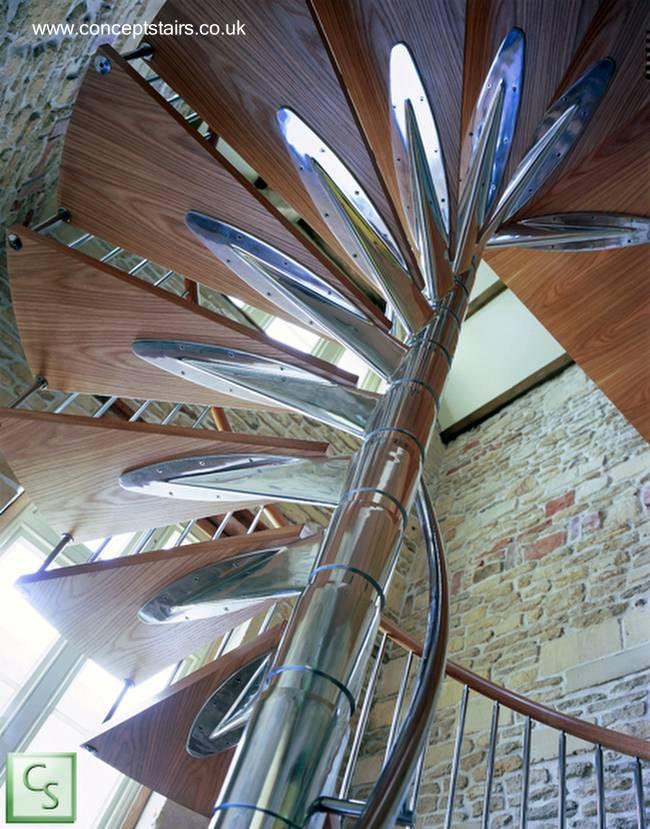 Arquitectura de casas 25 modelos de escaleras de interiores for Como hacer una escalera caracol metalica