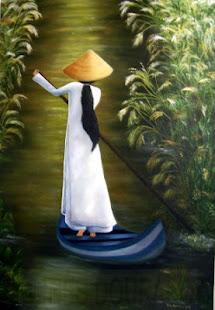 """Estudante vitnamita no rio Mekong""(Vietname)"