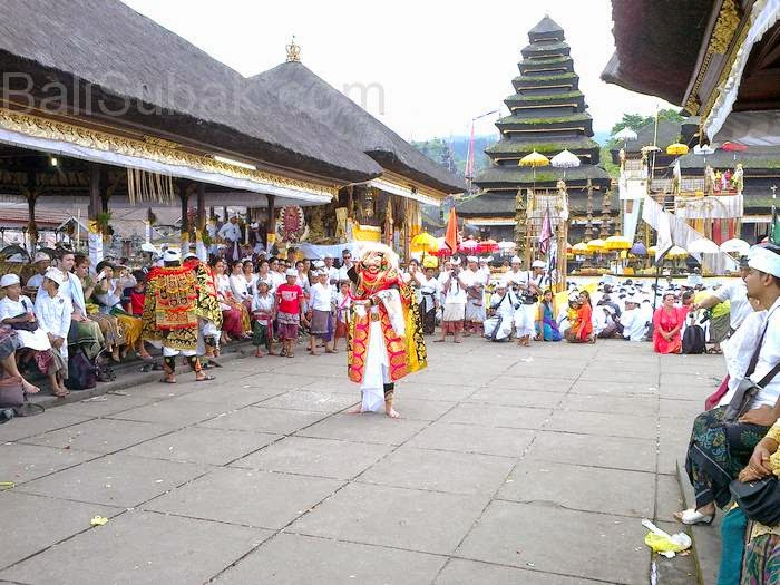 Balinese Mask Dance in Besakih Temple Bali Indonesia