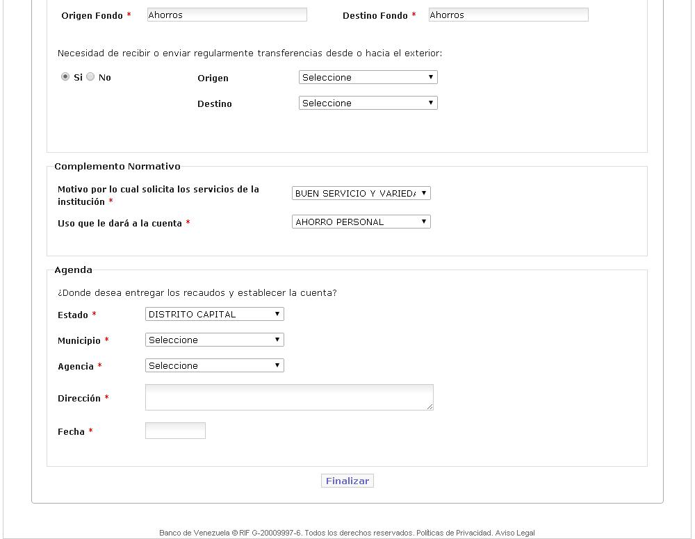 Banco venezuela credinomina planilla solicitud Banco venezuela clavenet