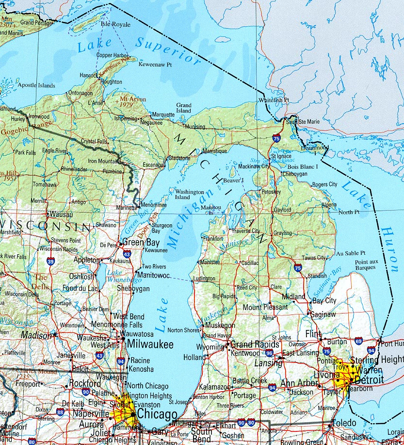 kaart staten midwest verenigde staten kaart michigan en lansing grote meren gebied vakantie. Black Bedroom Furniture Sets. Home Design Ideas