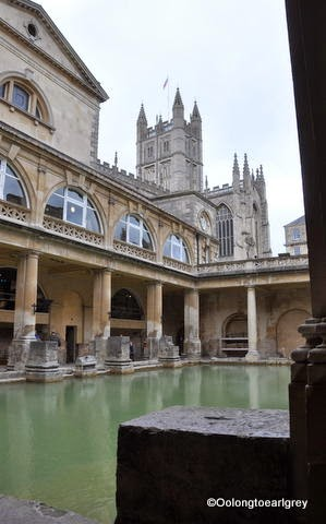 The Roman Baths and Bath Abbey, Bath, England