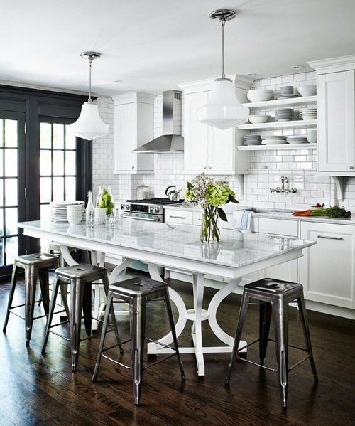 A Dark And Rich Floor With Bright White Furniture And Cabinets Lays Down  The Foundation Of This Cozy And Inviting Kitchen. Then Black Accents The  Entire ...