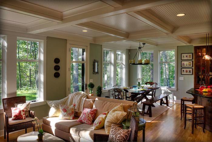 Деревянный дом в американском стиле, гостиная