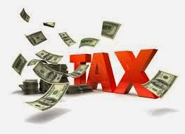 """TAX"" in capital, red 3-d letters, with dollar bills floating around"
