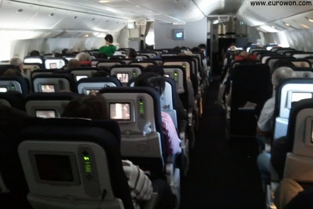 Interior de un avión de Air France para vuelos intercontinentales