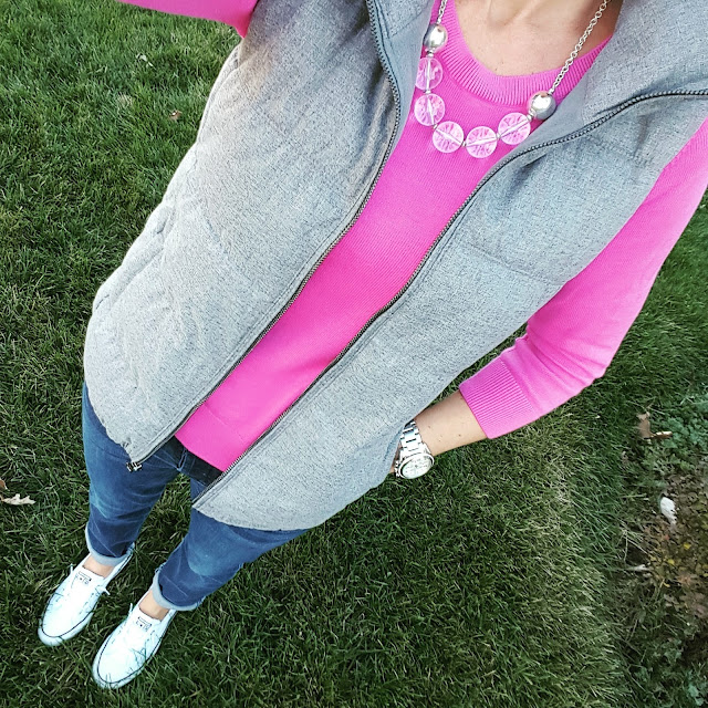 Old Navy Vest - on sale for $24! // Banana Republic Factory Sweater (similar) // 7 For All Mankind Jeans - 40% off! // Converse Tennis Shoes // Michael Kors Watch // Banana Republic Factory Necklace (similar)