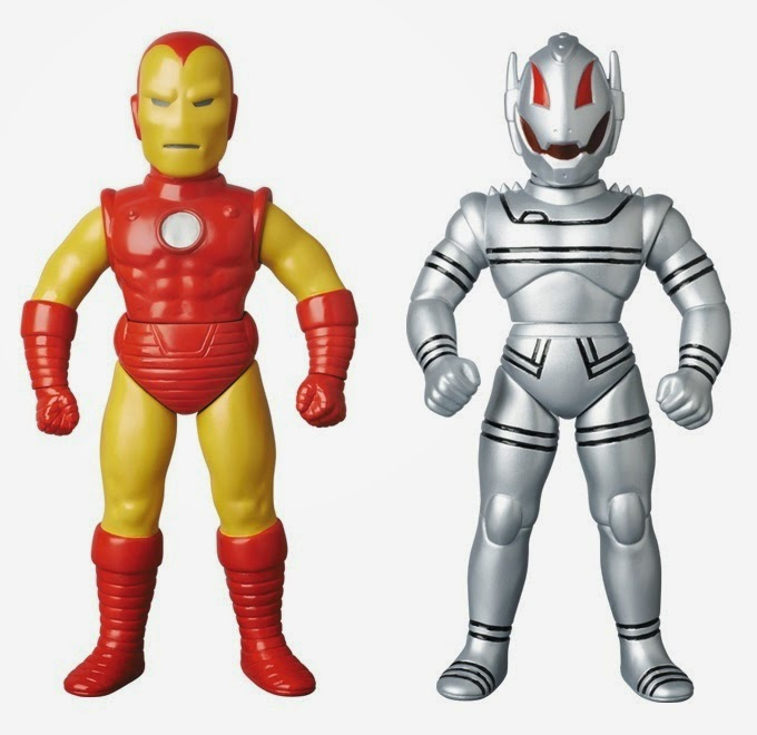 Iron Man & Ultron Marvel Retro Sofubi Collection Vinyl Figures by Medicom