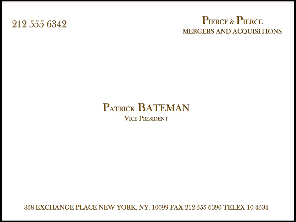 The magzoo cabrones con pintas for Patrick bateman business cards