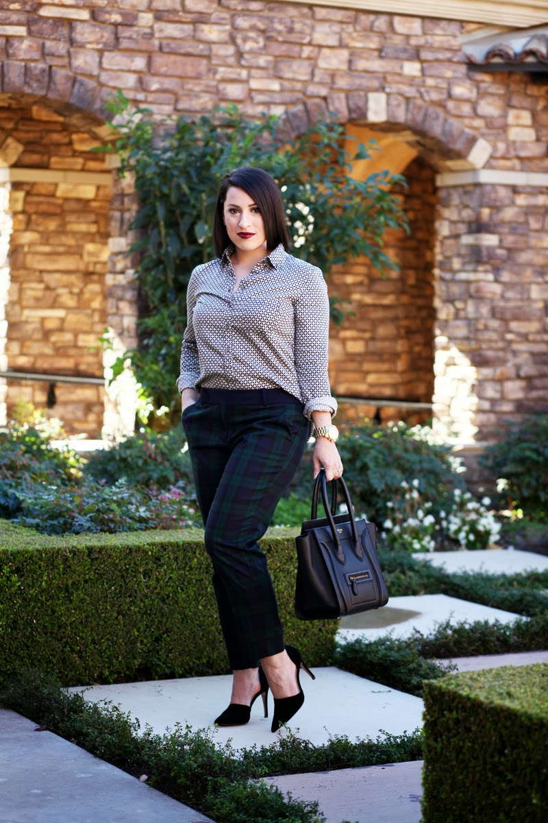 green-plaid-loft-pants-san-diego-style-blogger-king-and-kind-mac-darkside-lipstick-celine-handbag