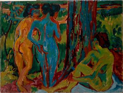 «Trois Nus dans la forêt» (1908) de Ernst Ludwig Kirchner (1880 - 1938).