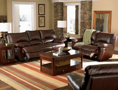 three Pieces of cappuccino Leather living room furniture set