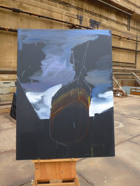 "unfinished plein air painting of  ""Painters with 'James Craig ' in Garden Island dry dock"" by Artist Jane Bennett"