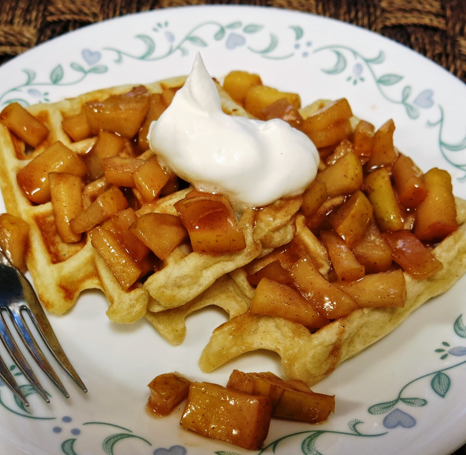 waffles with apple topping