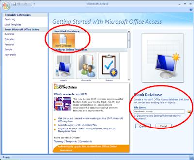 pada jendela awal access 2007 di bawah new blank klik blank database