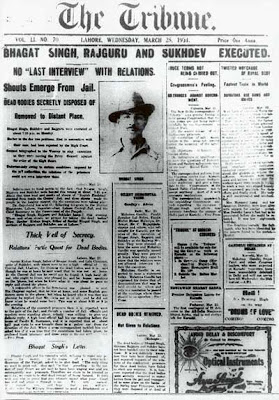 Front page of The Tribune announcing Bhagat Singh's execution