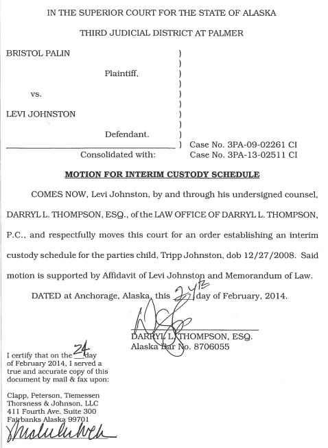 Breaking the heat is on levi johnston files for joint custody this second motion motion for interim custody schedule is much longer and includes an incredibly interesting and also very moving affidavit by levi thecheapjerseys Gallery