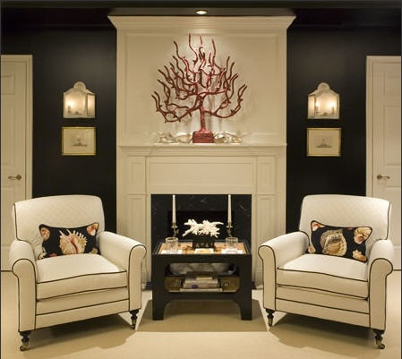 traditional black and white living room coral fan