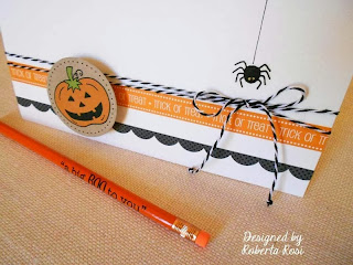 SRM Stickers Blog - Halloween Card by Roberta - #card #halloween #twine #pencil #borders