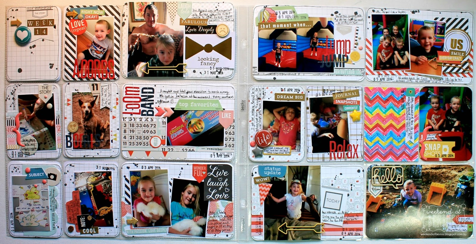 Week 14 project life spread by Bernii Miller using the Scrappy Canary July Pocket life kit.