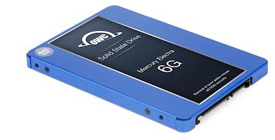 The new OWC Mercury Electra MAX 6G SSD has a blue chassis and is OWC's largest capacity SSD yet.