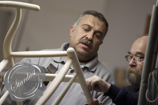 Tools of the trade: the Carl Hansen & Søn plant managers take another detailed look at the finishing to ensure the highest standards of quality have been met before the CH24 Wishbone Chair is handed over to expert cord wicker workers and final finishing (image credits: Stardust Modern Design).