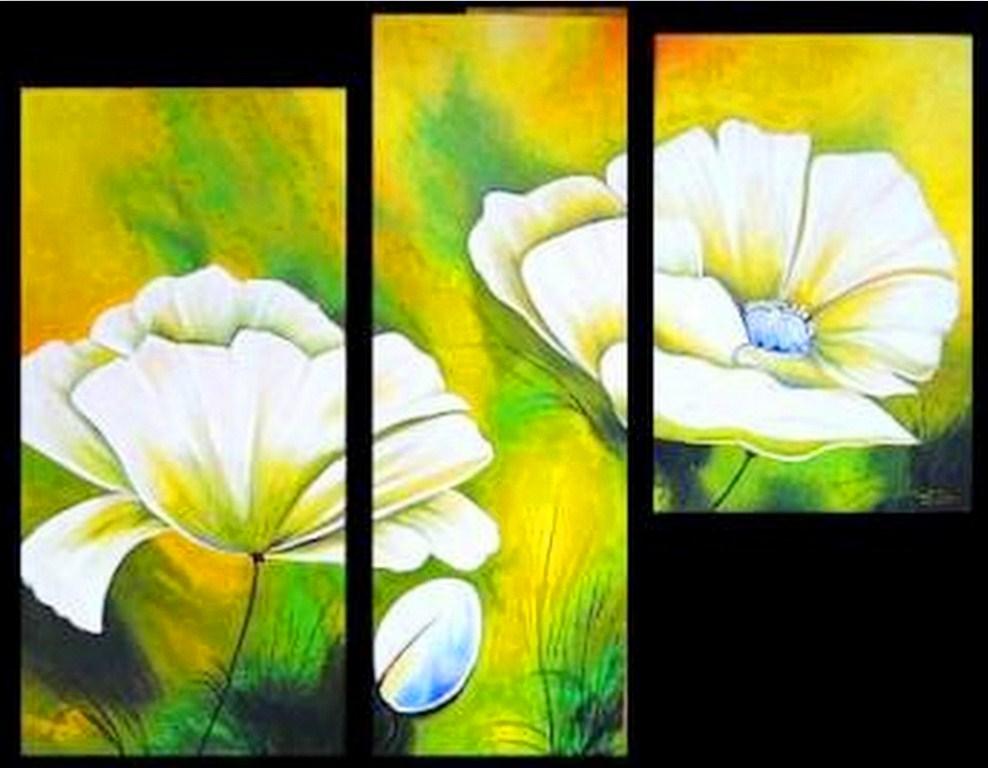 pinturas tripticos modernos con flores cuadros modernos con flores
