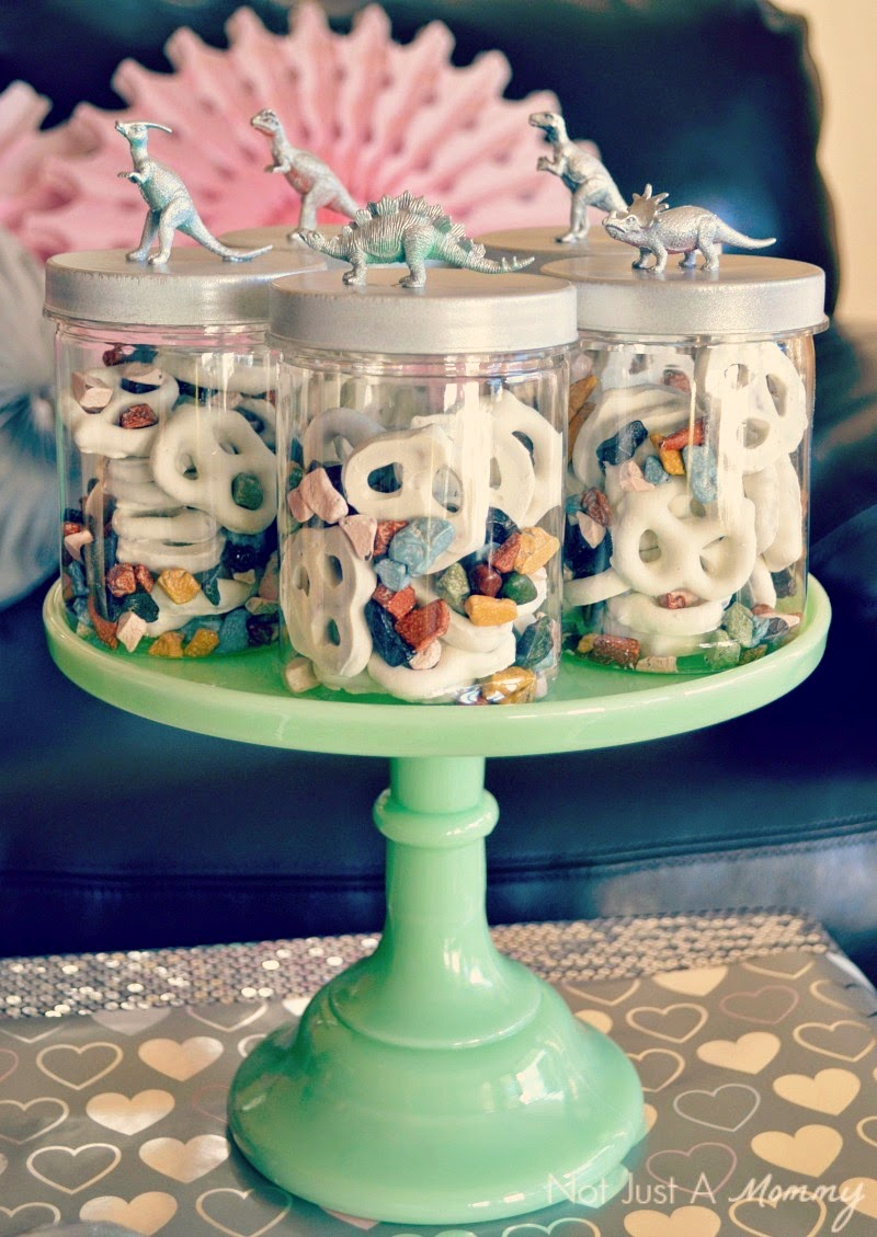 RAWR Means XOXO In Dinosaur Valentine's Day Party favor jars