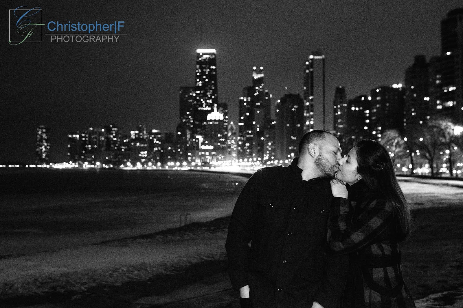 Chicago skyline night engagement photo