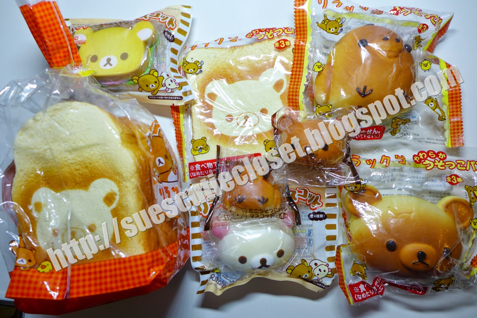 Squishy Collection Blog : Sue s Cutie Closet : Squishy Haul Close-Up: Rilakkuma Bread Bun Squishy Collection