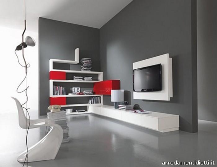 pareti attrezzate piccole. parete attrezzata rex ii in bianco ... - Salone Moderno Con Camino 2