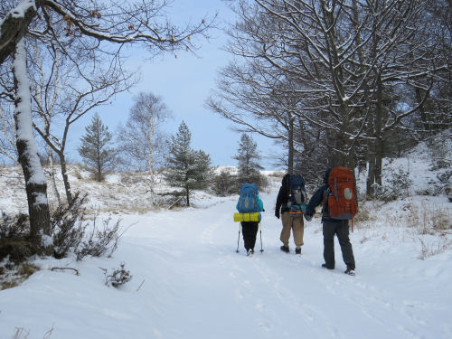 winter hike at Ludington State Park