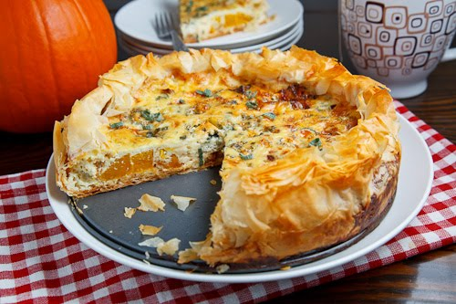 Pumpkin Quiche with Caramelized Onions, Gorgonzola and Sage