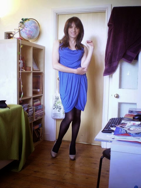 blue dress crossdresser