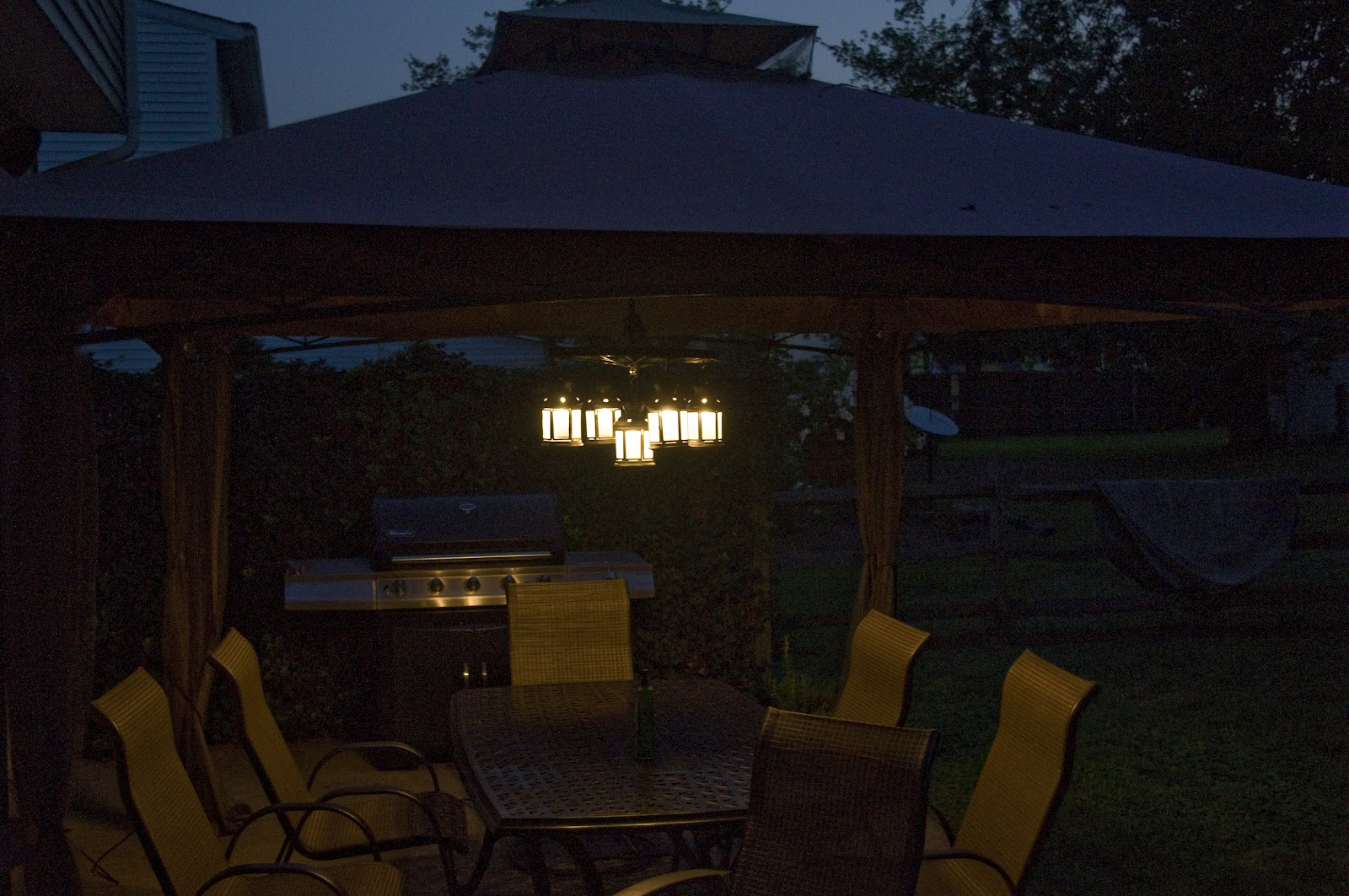 Outdoor electric chandelier things i have made for the past few years i wanted a gazebo tent to sit over our outdoor table this summer i got it after we put it up i saw the hook that hung aloadofball Images