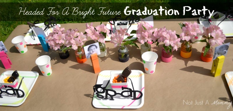 Headed For A Bright Future neon graduation party table