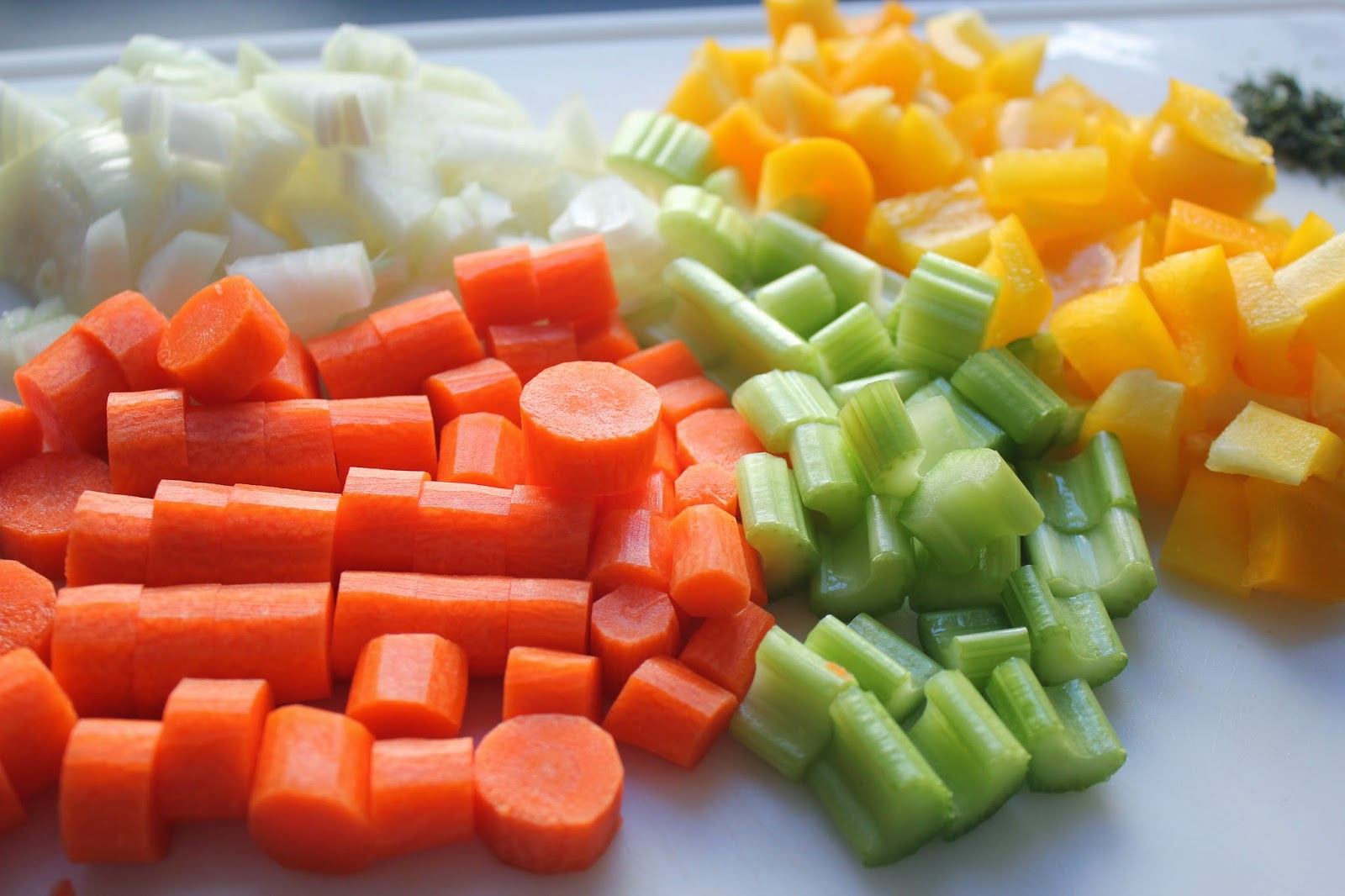 Chopped vegetables for hearty minestrone soup