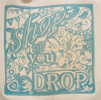 Shop till you drop design bag detail