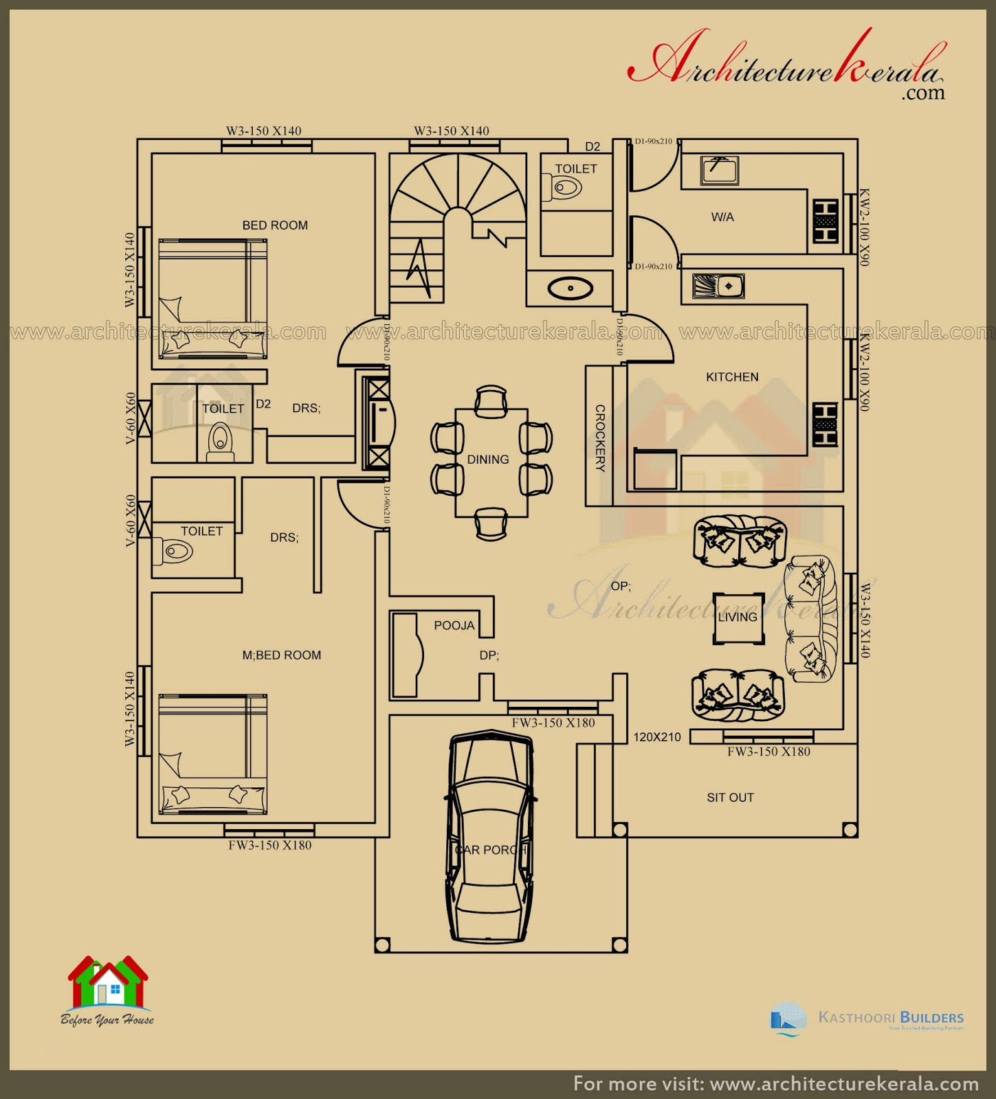 2500 sq ft 3 bedroom house plan with pooja room for Single floor 4 bedroom house plans kerala