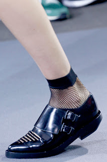 Punk shoes with fishnet socks for Spring