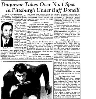 Headline From the Duquesne Football Archives: