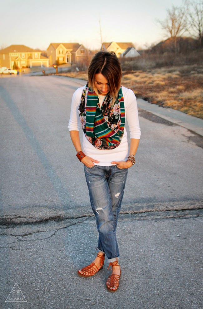 Serape scarf, boyfriend jeans and lace up sandals