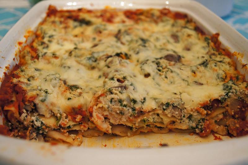 how to make spinach and mushroom lasagna