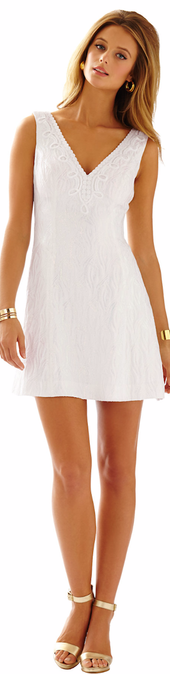 LILLY PULITZER BRYNN IRIDESCENT FIT & FLARE V-NECK DRESS WHITE