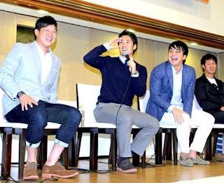 トークショーに参加した(左から)内海、、片岡、沢村、立岡